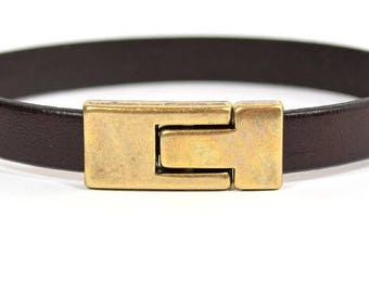 25% Off Magnetic Clasps for 10mm Flat Leather - Interlocking Buckle  - Antique Brass - 10FCL-N0700-AB - Choose Your Quantity