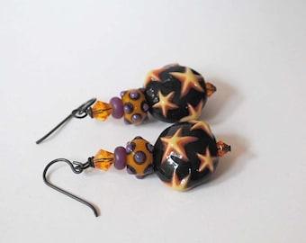 SALE Star Earrings, Ceramic Earrings, Lampwork Glass Earrings, Orange Earrings, Purple Earrings,