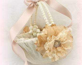 Flower Girl Basket in Lace and Linen Rose Gold Blush, Shabby Chic Flower Girl Basket with Pearl Handle