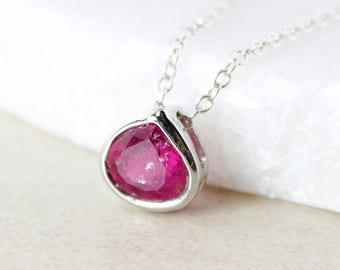 ON SALE Cranberry Pink Tourmaline Necklace - 925 Sterling Silver
