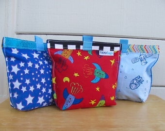 Space Fun Upcycled Snack Bag - Reusable Eco Friendly Fabric Baggie / Pouch - Sandwich / Lunch / Treat Bag - Baby / Toddler - Kid School Gift