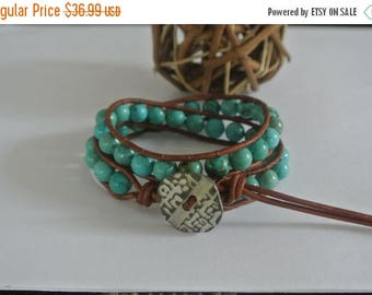 50% OFF SALE Zen Turquoise  Beaded Leather Wrap Bracelet