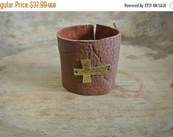 SALE 30% OFF Justhipstuff Leather Brass Cross Bracelet / Boho Chic Cuff