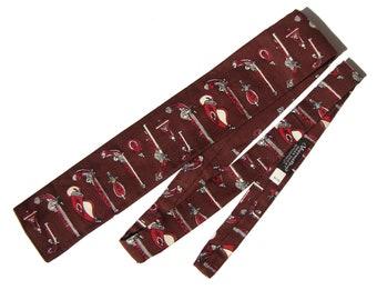 Vintage Antique Pistols Tie Rooster Square Necktie Novelty Print