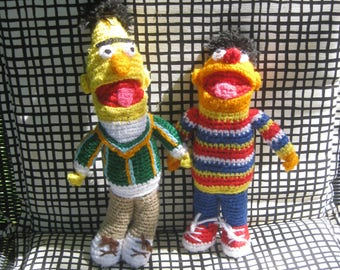 Bert and Ernie Sesame Street Vintage hand knitted dolls
