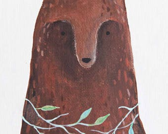 Bear with Leaves | PRINT