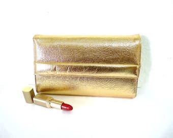 Vintage Gold Leather Clutch by BERNE Art Deco Wedding Purse