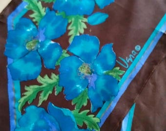 Vintage 1960s Vera Neumann Cocoa Brown and Bright Blue Floral Angle Scarf Head Band Skinny Width
