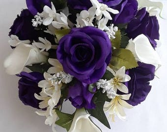 Purple, Roses,  White, Real Touch, Calla Lilies, Freesias, Crystals, Silk, Flowers, Wedding, Cascade, Bouquet