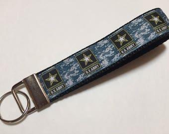 Blue Camouflage US Army Key Fob Keychain wristlet