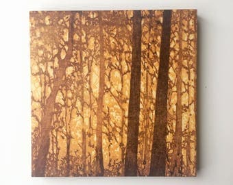 Original Mounted OOAK Woodblock Forest No. 12 Print - Hand Pulled Fine Art Print - Ready To Hang