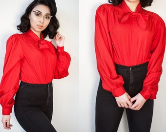 Vintage Red Neck Bow Tie Button Up Blouse Large XL