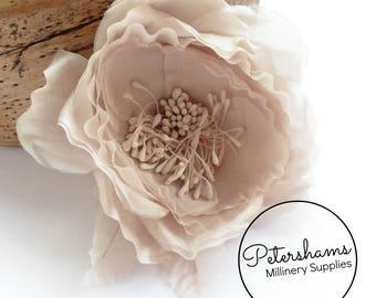 Silk 'Chloe' 11cm Rose Millinery Fascinator Flower Hat Mount - Soft Blush
