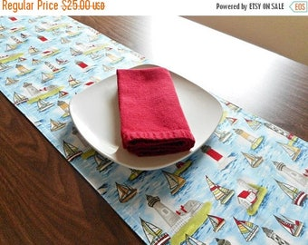 Christmas in July Sale Lighthouses Table Runner Nautical Sailboats Coastal Blue Red Yellow Gray Reversible Buffet