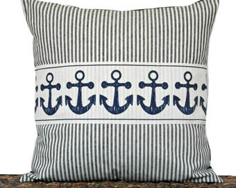 WEEKLY SPECIAL 16.00 Navy Blue Anchor Pillow Cover Cushion Ticking Stripes Nautical Coastal Summer Beige Repurposed Decorative 18x18