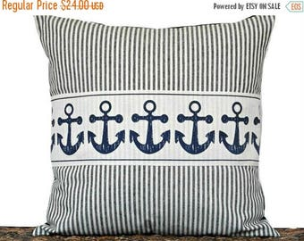 Christmas in July Sale Navy Blue Anchor Pillow Cover Cushion Ticking Stripes Nautical Coastal Summer Beige Repurposed Decorative 18x18
