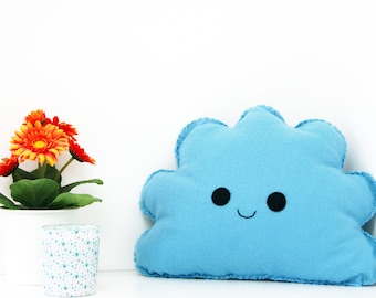Blue Cloud Cushion, Cloud Pillow, Smiling Cloud Pillow, Plush Cloud, Kawaii Plush, Cloud Nursery, Kids bedroom Decor, Baby Boy nursery room