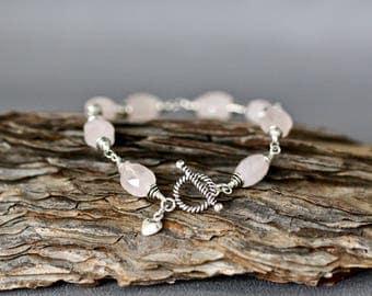 Rose Quartz Bracelet - Pink Gemstone Bracelet - Rose Quartz Jewelry - Bali Silver Bracelet - Wire Wrapped Bracelet Silver -  Pale Pink