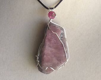 Wire Wrapped Rough Ruby Pendant