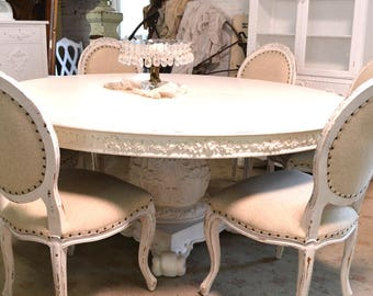 Dining Table Painted Cottage Chic Shabby White French Round Dining Table TBL220