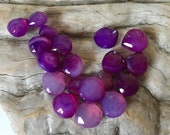 INVENTORY REDUCTION — 19 Stunning Purple Shaded Chalcedony Faceted Heart Beads