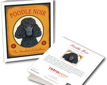 """Poodle Cards  """"Poodle Noir"""" 6 Small Greeting Cards by Krista Brooks"""