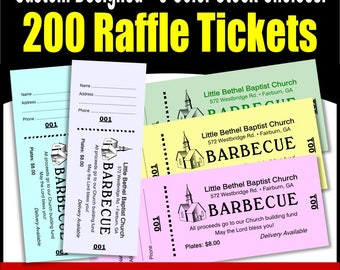 200 Card Stock Custom Raffle Tickets - Preforated Stub, Numbered on Two Ends - No Booking - No Booking