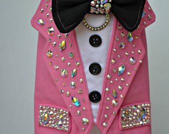 Dog Tuxedo, Dog Wedding Harness - Swarovski Crystal Bling, Wedding, Boy Dog Clothes - Featured at Oscars 2015