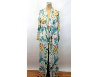 Floral robe nylon Vassarette silky tropical 1970s 1960s Size M