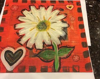 Hearts and Daisy Acrylic Board Wall Hanging