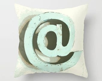 At Sign, Email, Symbol, Communication, Throw Pillow, Quote Pillow, Bed Decor, Cottage Home, Aqua Pillow, Living Room Decor, Whimsical Decor