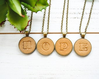 Monogrammed Leather Necklace - Custom Necklace - Initial Necklace - Boho Necklace