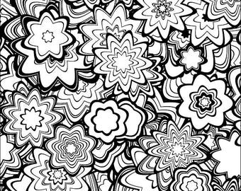 downloadable adult coloring page generative flowers math science chemistry art book color - Chemistry Coloring Book