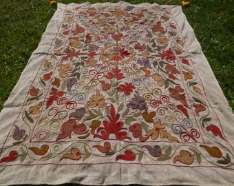"Beautiful Embroidered  5 ft 10"" x 4 ft 2"" Bukhara Throw/Fabric/ Wall hanging."