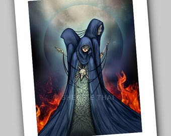The Three Fates, Gothic Horror Dark Fantasy, Surrealism Fine Art Print