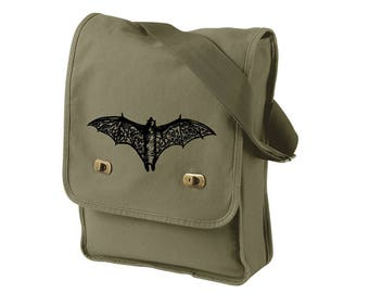 Bat Bag, Canvas Messenger Field Bag Tote Bag, Cross Body Halloween Bat,  Goth Gifts, Gifts for Men, Holiday Gifts Military Green Olive Drab