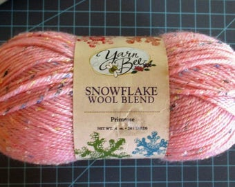 Yarn Light weight Yarn Bee Snowflake Wool Blend Primrose Pink