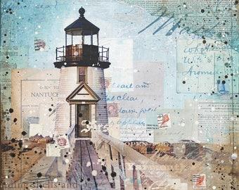 Nantucket (Brant Point Light) | Lighthouse Painting | Rustic Beach Art | Word Art | Mixed Media Art | New England Art | Nautical Decor