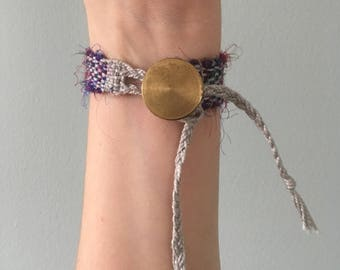 Handwoven Recycled Silk and Cotton  Bracelet // multicolor / upcycled / zero waste / sustainable / boho / gift / OOAK