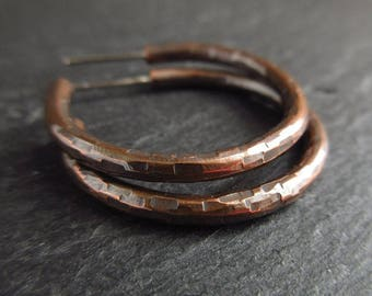 Copper earrings, hammered copper hoops, hoop and post earrings, oxidized metal, copper wedding anniversary gift, 7th anniversary, metalwork