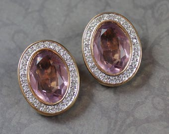 Vintage Pale Pink and Rhinestone Oval S.A.L. Designer Gold Tone Clip On Earrings