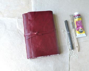 Ruby Red Leather Journal with Mixed Media Paper