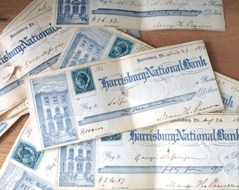 1870s Cancelled Bank Checks Lot of 5 - Antique Ephemera Harrisburg National Bank Checks