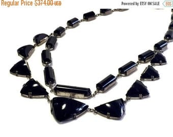 CIJ SALE Christmas JULY Reserved Rare Stunning Art Deco Sterling Silver Black Onyx Glass Geometric Vintage Art Deco Necklace