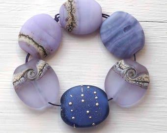 SRA Glass Lampwork Bead Set, Lavender Purple Etched Matte Glass Beads