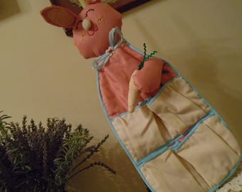 Wall Hanging Bunny For A Babies Room  Vintage Hand Made