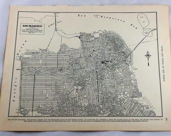 Antique Map of San Francisco. San Fran City Map. 1937 Historical Print, Lithograph Framing. 80 Yr old San Francisco Street Map. California