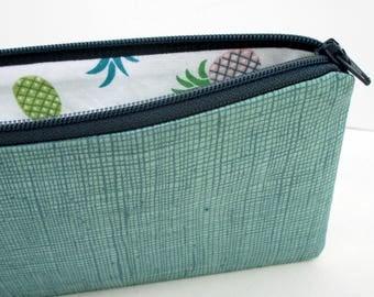 Long Zipper Pencil Pouch, Peek a Boo Pineapples, Muted Green, Zippered Bag