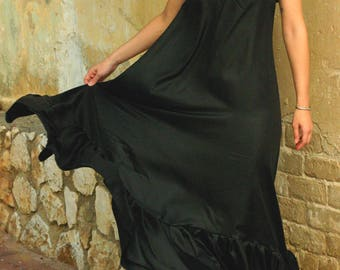 Black maxi dress, pure silk evening dress, silk prom dress, bridesmaid dress - sexy black dress - romantic summer dress