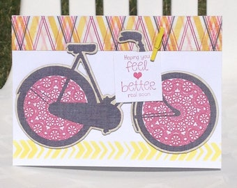 Get Well Card, Feel Better Soon Card, Wishing You Well Card, Bicycle Card, FINAL CLEARANCE